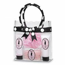 Buy 35624U - Fine French Bath Set Lotion Gel Sponge Polka Dot Tote