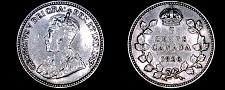 Buy 1920 Canada 5 Cent World Silver Coin - Canada - George V - Lot#9930
