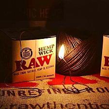 Buy RAW rolling paper HEMP WICK 250 FT. w/ Handy Dispenser Box All Natural BEES WAX