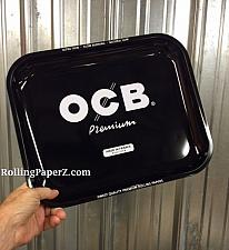 """Buy New OCB® Cigarette Papers Brand Metal Rolling Tray 14"""" x 11"""" Black Premium Large"""