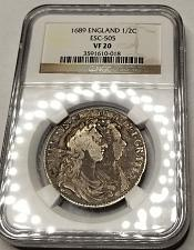 Buy 1689 Great Britain 1/2 Crown World Silver Coin NGC VF20 - William & Mary ESC-505