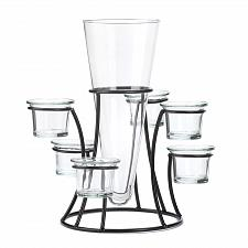 Buy *15367U - Circular Iron 6 Cup Candle Stand With Glass Vase