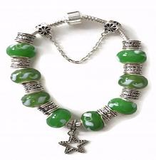 Buy European Silver Charm Bracelet With Star And Green Murano Beads