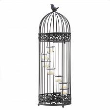 Buy D1232U - Birdcage Staircase Glass Cups Black Iron Tea Light Candle Stand
