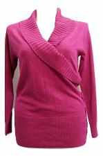 Buy STYLE&CO Womens Collared Sweater PLUS SIZE 0X Solid Pink Side Laced Long Sleeve