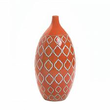 "Buy *16674U - Merit 14"" Orange Geometric Pattern Stoneware Accent Vase"
