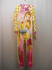 Buy DISNEY Girls 1-Piece Sleeper Belle Size L Fleece Zip Front Crew Neck Long Sleeve