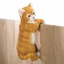 Buy *16383U - Climbing Tan Kitty Cat Amber Fence Edge Sitter Figurine