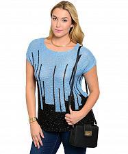 Buy Womens Sweater C.O.C. PLUS SIZE 1XL 2XL 3XL Scoop Neck Cap Sleeve Blue