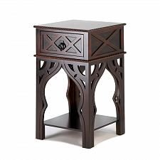 Buy *15465U - Moroccan Style Dark Wood Accent Side Table