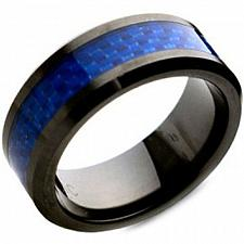 Buy coi Jewelry Black Tungsten Carbide Ring With Carbon Fiber