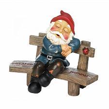 Buy *17753U - Dreaming & Wishing Gnome Sleeping Garden Bench Statue