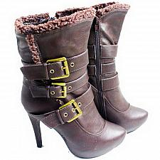 """Buy Womens Ankle Boots Victoria 5"""" High Heel TWISTED Buckle Size 6.5-9 Solid Brown"""