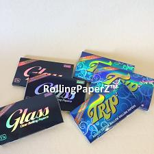 Buy 6 Packs Clear Rolling Papers 1 1/4 Size (3) TRIP and (3) GLASS 50 leaves per pk