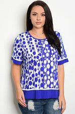 Buy Knit Top Womens PLUS SIZE 1XL ESSENTIAL Multi Geometric Short Sleeves Pullover