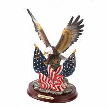 Buy 32419U - American Pride Bald Eagle Over Flags Resin Figurine Wood Base