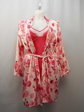 Buy Chemise Robe Set Womens Satin Size L Pink Hue Floral Print Secret Treasures