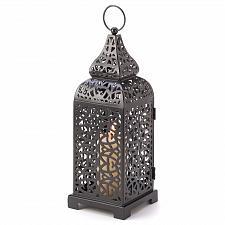 Buy 13176U - Intricate Detailed Black Moroccan Tower Pillar Candle Lanter