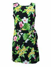 Buy Ladies Hibiscus Short Sarong Black Dress#RJ-W152S-BW size: MED
