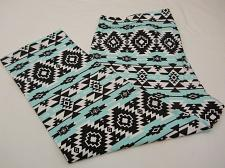 Buy Women Capri Leggings Mint Aztec Print SIZE 2XL Inseam 22 Cropped Legs