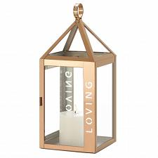 """Buy *18529U - Rose Gold Metal Frame LOVING Stencil Cut 17.5"""" Pillar Candle Lantern"""