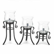 Buy *16837U - Allure Clear Fluted Glass Cup Black Iron Votive Candle Stands 3pc