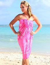 Buy Hot Pink Rayon Sarong Beach Cover Up #KMI-7000 w/ Turtle Design
