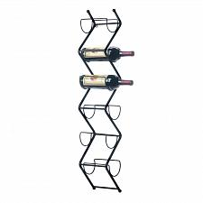 Buy *18365U - Chevron Black Metal Wall Rack Wine Bottle Holder 6 Slots