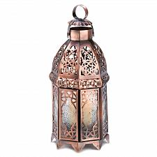 Buy 13366U - Copper Moroccan Style Iron Tea Light Candle Lantern Pressed Glass
