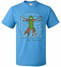 Buy Vitruvian Pickle Rick Unisex T-Shirt Pop Culture Graphic Tee (S/Pacific Blue) Humor F