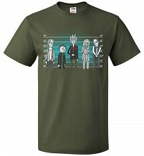 Buy Rick and Morty Unusual Suspects Unisex T-Shirt Pop Culture Graphic Tee (L/Military Gr