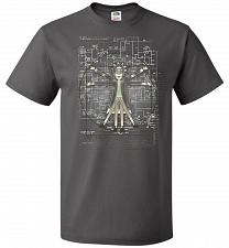 Buy Vitruvian Rick Unisex T-Shirt Pop Culture Graphic Tee (L/Charcoal Grey) Humor Funny N
