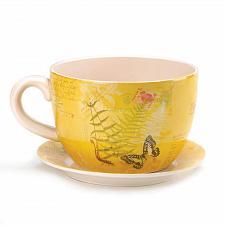 "Buy *16838U - Yellow Garden Butterfly Dolomite 11"" Teacup Planter w/ Drain Hole"