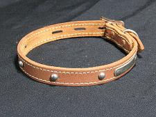 Buy Leather Dog Collar NEW Vintage NOS Locking Studs Name Plate Made In Canada