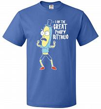 Buy The Great Poopy Buttholio Unisex T-Shirt Pop Culture Graphic Tee (L/Royal) Humor Funn