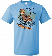 Buy Chewie and Porg Unisex T-Shirt Pop Culture Graphic Tee (M/Aquatic Blue) Humor Funny N