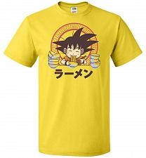 Buy Saiyan Ramen Unisex T-Shirt Pop Culture Graphic Tee (L/Yellow) Humor Funny Nerdy Geek