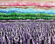 Buy Abstract Landscape, Large Original Oil Painting, Impasto, Lavender, Palette Knife Art