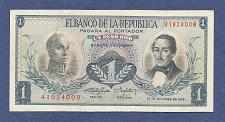 Buy COLUMBIA 1 Peso Oro 1959 Banknote 41924009 -S Bolivar/Gen Santador - UNC Crisp Note!