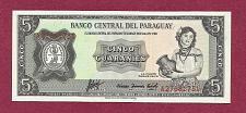 Buy PARGUAY 5 Guaranies 1952 Banknote A27681731 Paraguayan woman w/jug, p195 UNCirculated