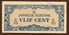 Buy WWII Invasion Money Japan - 5 Cent 1942 Note S/AQ Netherlands West Indies