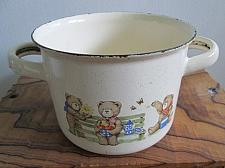 """Buy Enamelware Small POT Cream Sauce PAN 2 Handles Graniteware Bowl 5""""dia Cast Iron"""