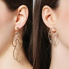Buy Women gold plated body face earrings
