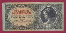 Buy Hungary Tizezer 10,000 MilPengo 1946 CRISP Banknote S/N 053412 RARE!