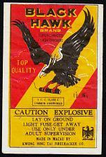 Buy BLACK HAWK FIRECRACKER PACK LABEL 16'S ICC CLASS C MACAU VINTAGE 1960'S RARE