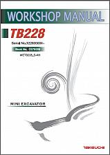 Buy Takeuchi TB228 Compact Excavator Service Workshop Manual on a CD - TB 228