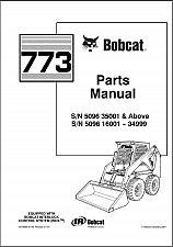 Buy Bobcat 773 Skid Steer Loader Parts Manual on a CD