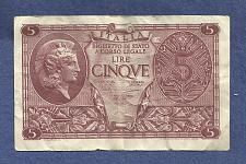Buy ITALY 5 Lire 1944 Banknote 814988 - Historic WWII Currency!