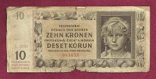 Buy BOHEMIA & MOROVIA 10 Kronen 1942 Banknote 085653 - Czechoslavakia / WWII Currency