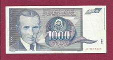 Buy YUGOSLAVIA 1000 Dinar 1991 Banknote AC5265426 - Nikola Tesla 1856-1943